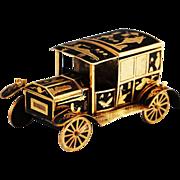 Antique Black enamel gilt tin and brass desk Car inkwell