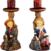 Pair of Antique Continental majolica candleholders, art pottery, ceramic