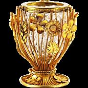 French crystal glass Vase set into floral gilded bronze mounts