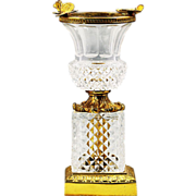 French sculptured gild bronze & cut crystal glass Vase