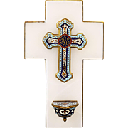 Antique French bronze champleve enamel cross mounted on onyx Holy Waterfont