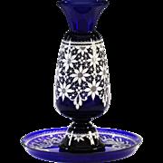 Vintage Italian Marco Testolini Vase & Tray Royal blue art glass white lace