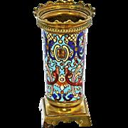 Antique French Napoleon era Bronze dore Champleve Enamel Vase