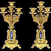 Pair of 19th century French Empire gilt bronze porcelain 4 light Cadleholders