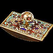 Antique French enamel on bronze, champleve or cloisonne ink Blotter