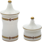Pair of Vintage Sweden White Opaline crystal glass powder jar, vanity boxes set