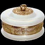 Antique white opaline glass trinket, jewelry lidded box set into gilded bronze filigree mounts
