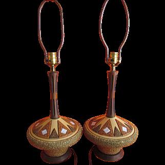Table Lamps Italian Pottery Pair