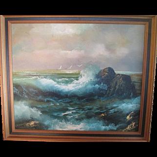 Vintage Seascape Oil Painting On Canvas