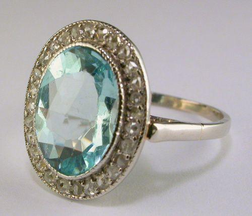 Art Deco Aquamarine Diamond Ring