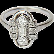 Art Deco 0.33ctw diamond 14 k white gold engagement ring