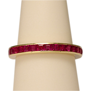 Estate synthetic rubies yellow gold eternity band US RING SIZE 7