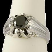 Vintage black and white diamonds unisex ring