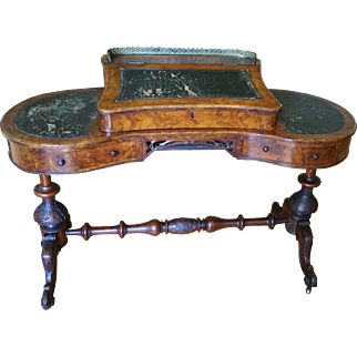 Exceptional Antique English Walnut Burl Kidney Shaped Davenport Pedestal Desk