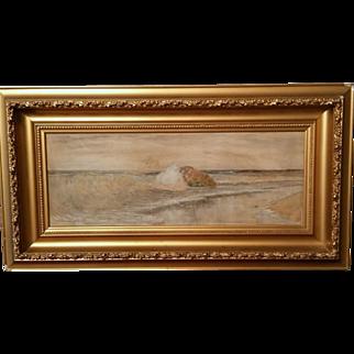 19th c.  American watercolor S. R. Chaffee Providence,  RI Seascape