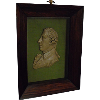 Georgian Miniature Wax Portrait of Actor David Garrick