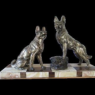 L. Carvin 1875-1951 Bronze/Spelter Sculpture 2 (Alsatians) German Shepherds