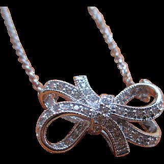 "925/Silver Cubic Zirconia ""Bow"" Necklace"