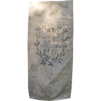 Hand painted XIXth century French peasant burlap sack