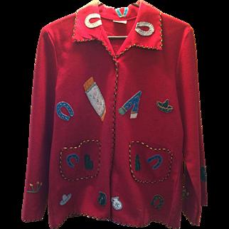1940's Red Mexican souvenir jacket!