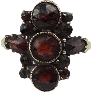 Antique Bohemian garnet gold ring