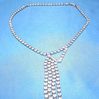 Vintage,  1950's era costume choker Necklace set with rhinestones