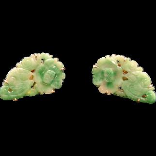Vintage Carved Natural Jadeite Jade Floral Motif 14k Gold Clip on Earrings.