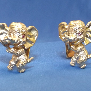 """SALE """" Salute to Ike """" Republican Elephant Cuff Links made of 14K Yellow Gold"""