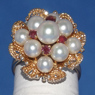 SALE 1940's 14k Yellow Gold Pearl and Ruby Flower Ring