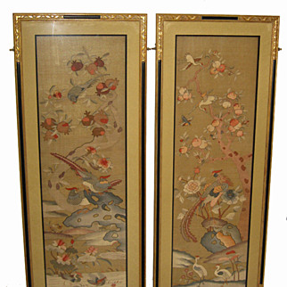 Magnificent Pair of Framed Chinese Silk Kesi Panels