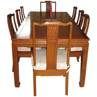 Burmese/Thai Rosewood Vintage Dining Table and Chairs