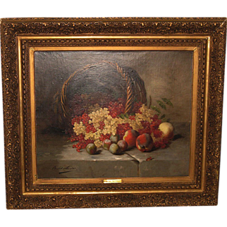"Still Life ""Peaches & Grapes"" by  Alfred de Neuville"