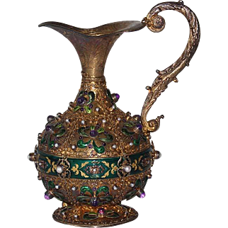 Continental Sterling Silver Ewer Enameled & inset Amethyst & Pearls