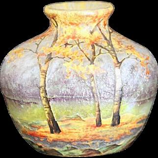 Magnificent Art Nouveau French Enameled Small Glass Landscape Vase by Daum