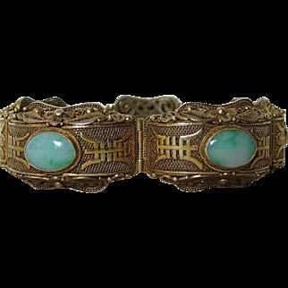 Chinese Vintage Vermeil and Jadeite Inset Bracelet
