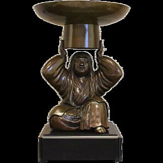 Unique Japanese Bronze Shojo Usabata