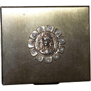 Vintage Brass Compact With Decorative Cameo Front