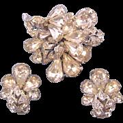 Eisenberg Sparkling Clear Silvertone Rhinestone Pin and Earring Set