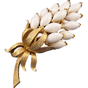 Trifari Goldtone and White Navette Flower Brooch
