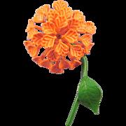 Dimensional Orange Enameled 1960s Puff Blossom Flower Pin