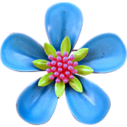 Blue Green and Pink 1960s 5 Petaled Enameled Metal Flower Pin