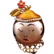 'Puffed' Flower Hatted Woman Face Pin