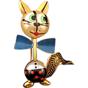 Tiny 'Puffed / Robotic' Cat Pin with Faux Pearl Face - Marked SPAIN