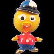 'Puffed' Figural Miniature Duck in a Baseball Cap Pin