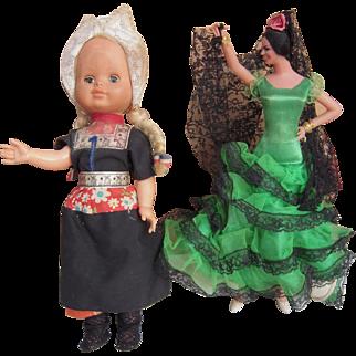 """Pair c1970s/1980s 12"""" Dolls"""