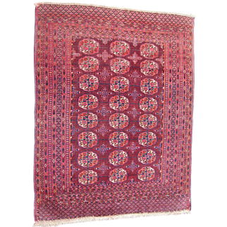 c1890s Antique Turkoman Persian Rug 4' x 5'
