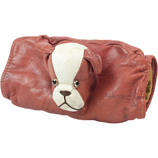 """1920s Red and White Leather Children's Muff with Bulldog 7 1/2"""""""
