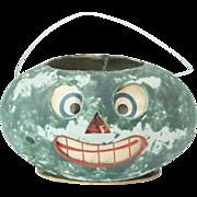 "Rare Antique German Papier Maché Watermelon Halloween Lantern with Original Inserts 5 1/2"""