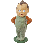 """1910s German Poured Papier Maché Candy Container Veggie Boy with Kewpie-Like Head 4 1/2"""""""