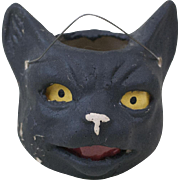 """1910s Antique German Heavy Poured Papier Maché Halloween Black Cat Jack-O-Lantern 3 1/2"""""""